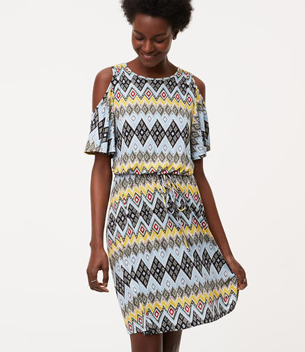 Image of Petite Boho Cold Shoulder Dress