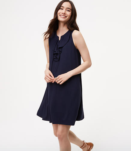 Image of Petite Ruffled Lace Up Swing Dress