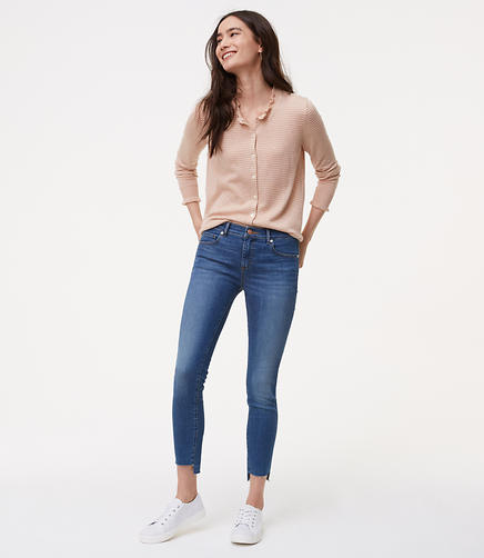 Image of Tall Modern Step Hem Skinny Jeans in Mid Stonewash