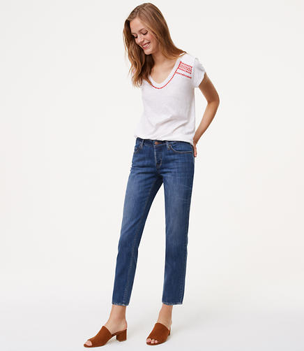 Tall Unpicked Boyfriend Jeans in Staple Mid Indigo Wash