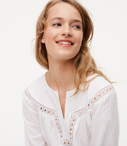 Image of Petite Lacy Peasant Blouse
