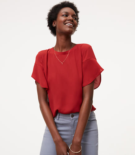 Image of Petite Petal Sleeve Clean Tee