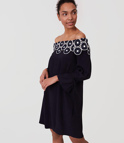 Image of Circle Lace Off The Shoulder Dress