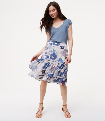 Image of Floral Tiered Skirt