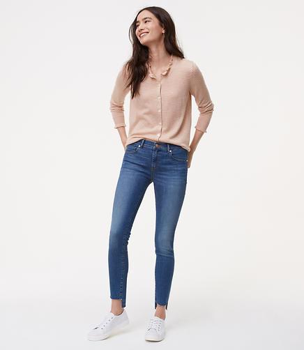 Image of Petite Modern Step Hem Skinny Jeans in Mid Stonewash