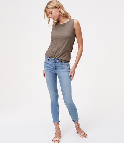 Petite Modern Destructed Skinny Ankle Jeans in Juniper Wash