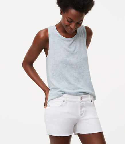 Image of Petite Cut Off Denim Shorts in White