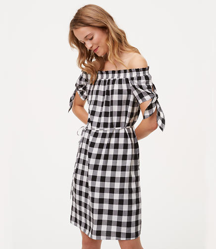 Image of Gingham Tie Off The Shoulder Dress
