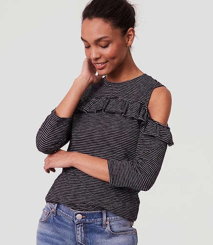 Image of Petite Striped Ruffle Cold Shoulder Tee
