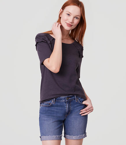 Image of Petite Lacy Ruffle Shoulder Tee