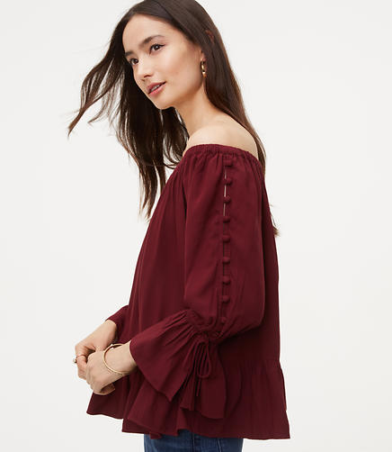 Button Sleeve Off The Shoulder Blouse