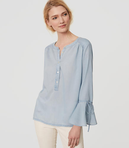 Image of Chambray Bell Sleeve Shirt