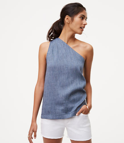 Image of Chambray One Shoulder Top