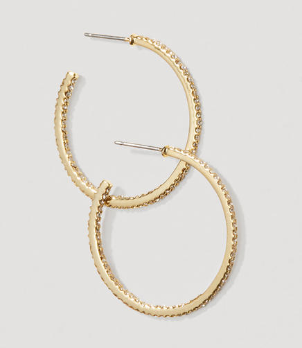 Image of Pave Crystal Hoop Earrings
