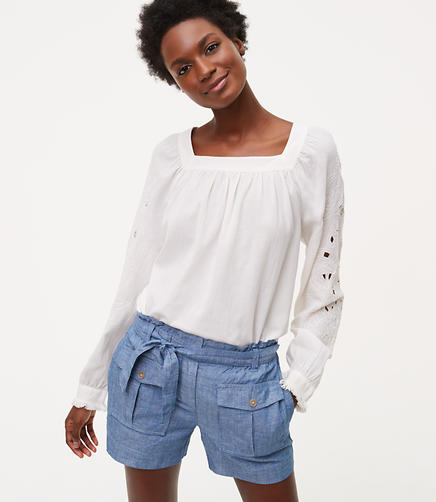 Image of Petite Lacy Cutout Blouse