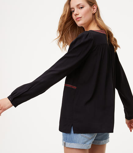 Image of Petite Embroidered Split Neck Blouse
