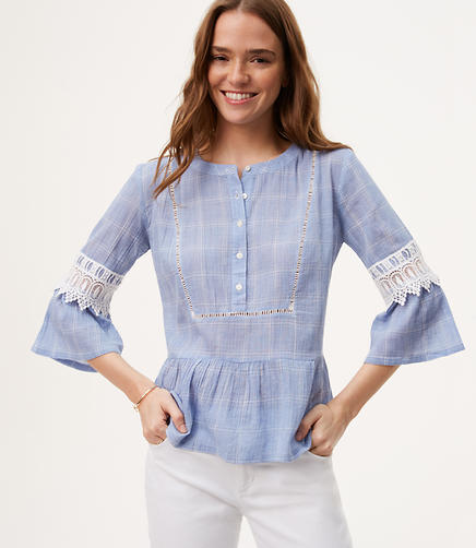 Image of Plaid Lacy Bell Sleeve Top