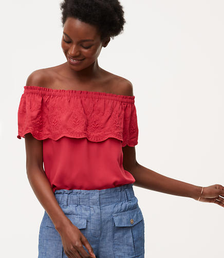 Image of Petite Embroidered Ruffle Off The Shoulder Top
