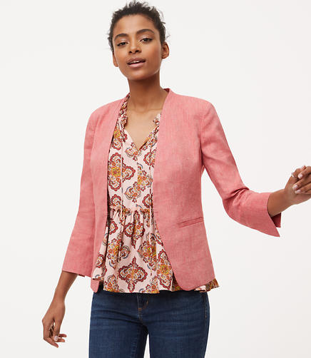 Image of Linen Cotton Collarless Blazer