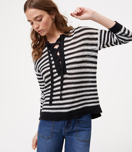 Image of Petite Striped Lace Up Sweater