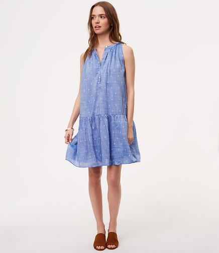 Image of Petite Dot Chambray Drop Waist Dress