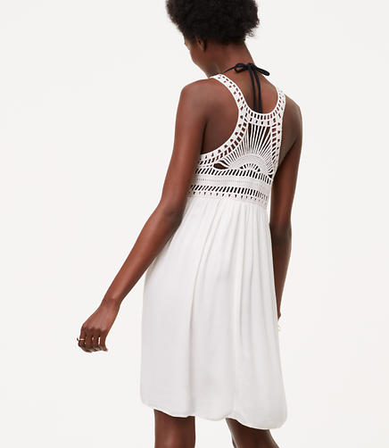 Image of LOFT Beach Macramé Swing Dress