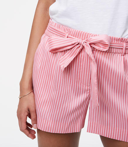 Image of Striped Tie Waist Shorts