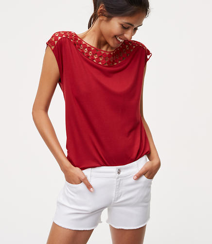 Image of Petite Cutout Lace Tee