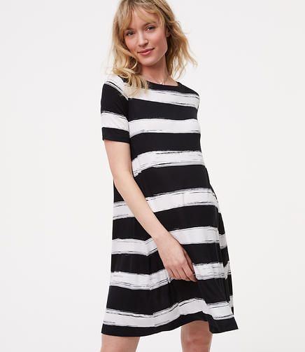 Image of Petite Maternity Striped Swing Dress