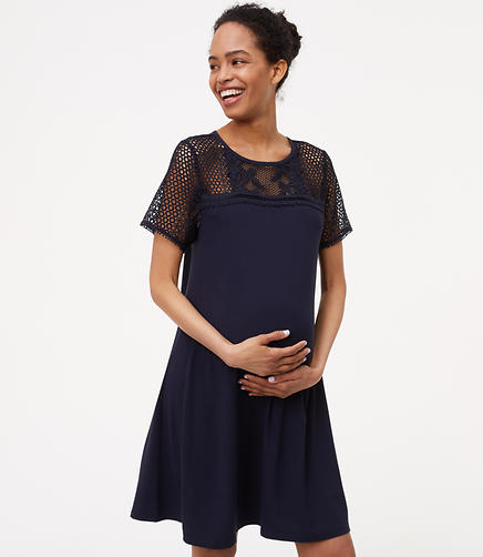 Image of Petite Maternity Lace Yoke Swing Dress