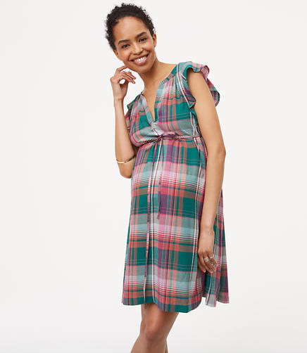 Petite Maternity Plaid Flutter Dress