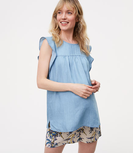 Image of Maternity Chambray Pintucked Flutter Shell