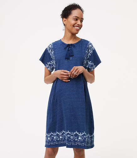 Image of Maternity Embroidered Lace Up Swing Dress