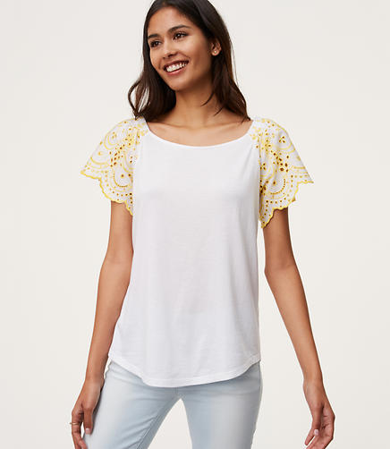Image of Eyelet Sleeve Top