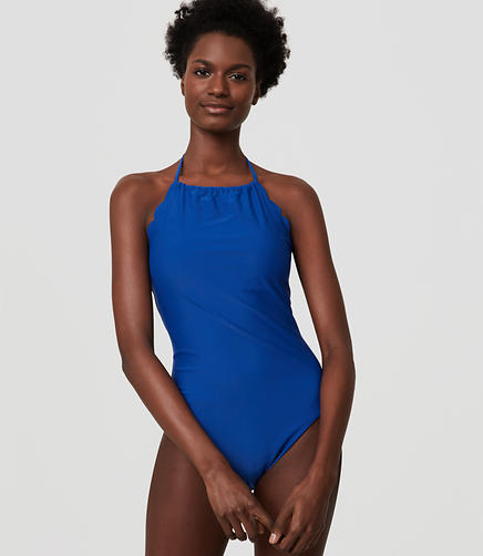 Image of LOFT Beach Scalloped Halter One Piece Swimsuit