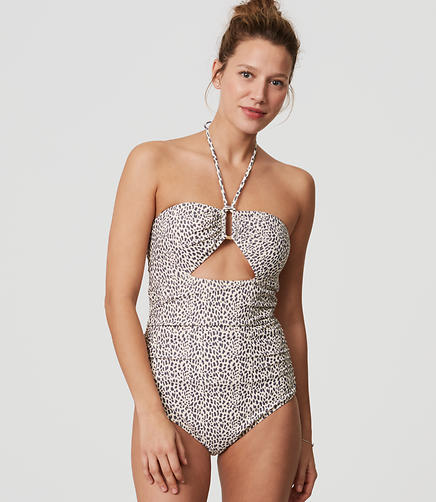 Image of LOFT Beach Leopard Print Cutout One Piece Swimsuit