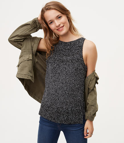 Image of Petite Marled Stitch Striped Sweater Tank