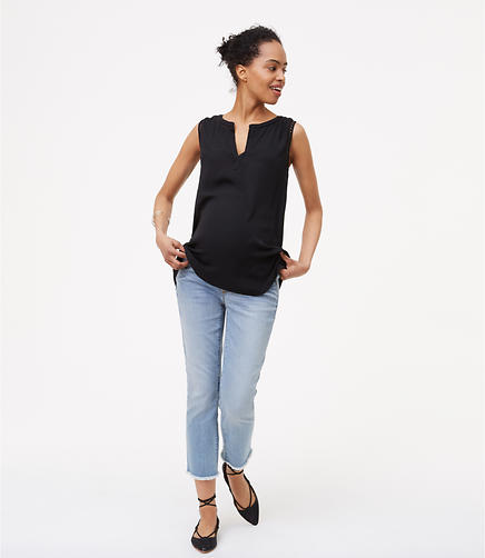 Maternity Frayed Skinny Crop Jeans in Authentic Light Indigo Wash