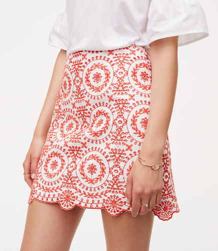 Image of Eyelet Medallion Skirt