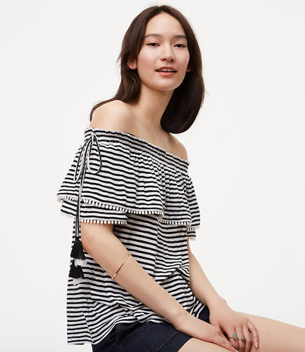 Image of Petite Striped Pom Pom Off The Shoulder Top