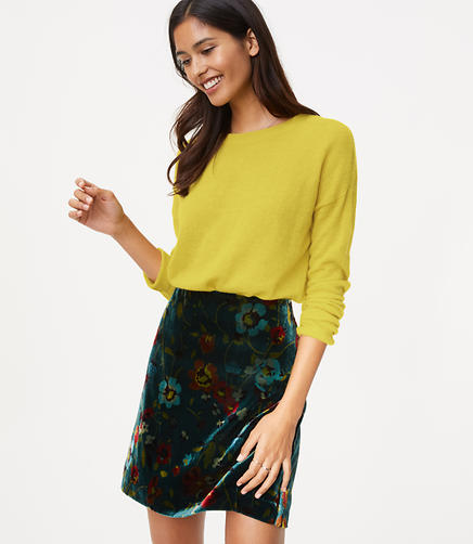 Floral Velvet Shift Skirt