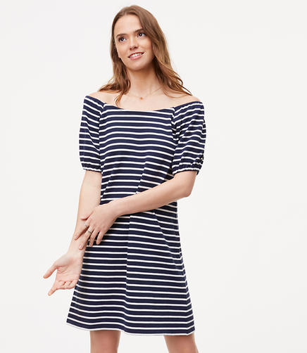 Image of Petite Striped Puff Sleeve Dress