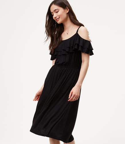 Image of Tall Ruffle Cold Shoulder Dress