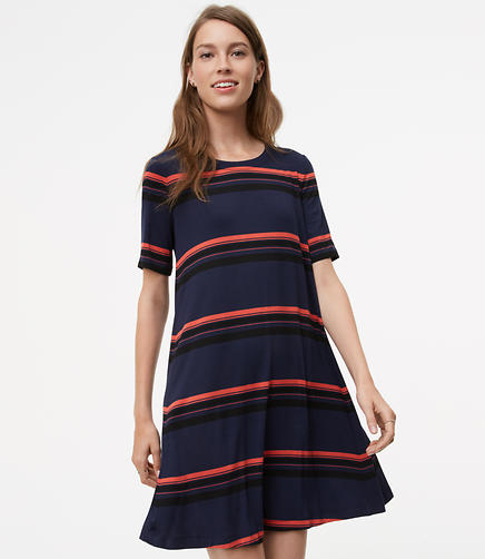 Image of Striped Short Sleeve Swing Dress