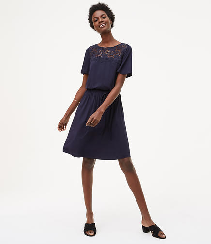Image of Floral Lace Yoke Dress