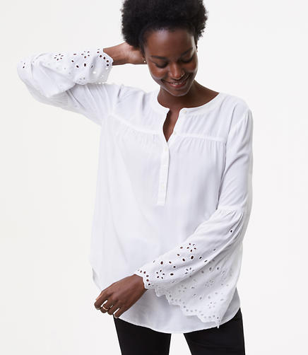 Image of Eyelet Bell Sleeve Blouse