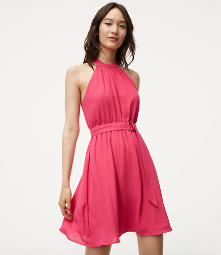 Image of Belted Halter Dress