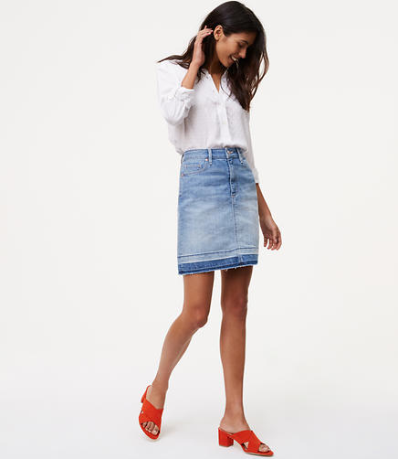 Image of Unpicked Denim Shift Skirt