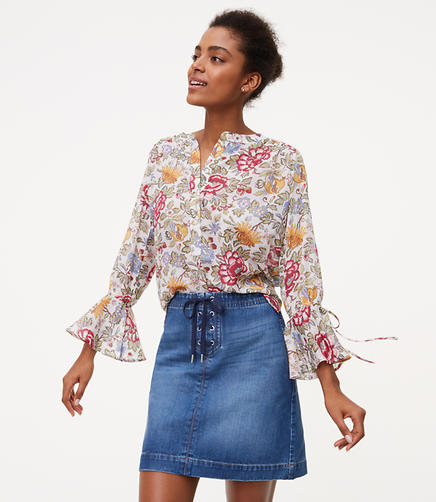 Image of Lace Up Denim Skirt