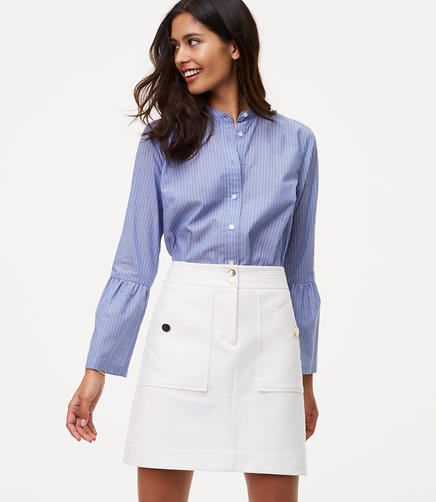 Image of Bi-Stretch Buttoned Shift Skirt